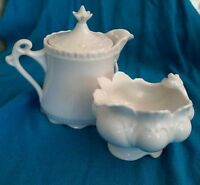 Rynnes China Porcelain White Creamer and BC Sugar Bowl Made in Japan