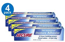 Secure Waterproof Denture Adhesive 12 Hour Holding Power Zinc Free 1.4 Oz 4 Pack