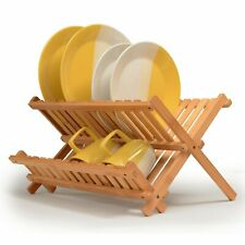 Bamboo Dish Drying Rack - Wood Kitchen Dishes Rack & Plate Holder
