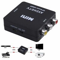 Mini Composite AV CVBS 3RCA to HDMI Video Converter Adapter Black 720p/1080p RF