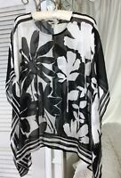 NEW ~ M Medium Black White Floral Boho Poncho Top Shirt Blouse Topper $72