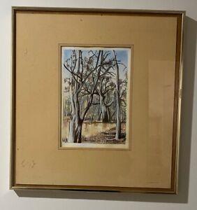 "Malcolm King Framed Original Watercolour Painting ""Steven's Weir"""
