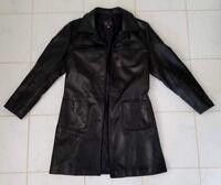 Women's Black Leather  Button Blazer Jacket Size M (B4)