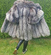 Neu Sage Fox Silver Fox Fur Swinger Pelz Mantel Silberfuchs echtfell Jacke 40 42