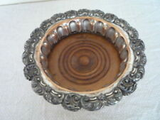 ANTIQUE LARGE OLD SHEFFIELD PLATE WINE / BOTTLE COASTER WORN SILVER ON COPPER