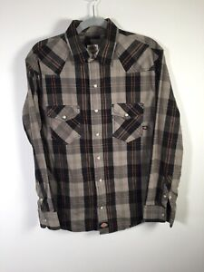 Dickies mens multicolour check button up shirt size M slim fit long sleeve