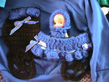 BABY BUGGY removable CUPIE DOLL *OOAK Size 3/4 ROYAL BLUE sweatshirt for a girl