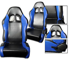 1 Pair Blue & Black PVC Leather Racing Seats RECLINABLE + Sliders FIT FOR Nissan