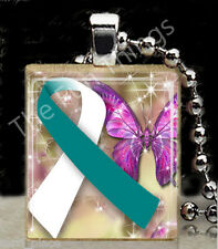 Teal Ribbon Scrabble Tile Pendant Jewelry Cervical Cancer Awareness Support G