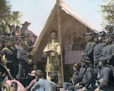"""CHAPLAIN MINISTERING UNION SOLDIERS CIVIL WAR 8x10"""" HAND COLOR TINTED PHOTOGRAPH"""