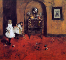 Art Oil painting William Merritt Chase - Children Playing Parlor Croquet canvas