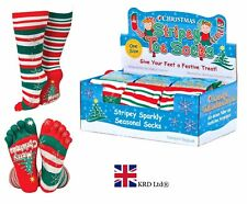 CHRISTMAS STRIPEY TOE SOCKS Soft & Stretchy Mens Ladies Kids Fancy Dress Gift UK