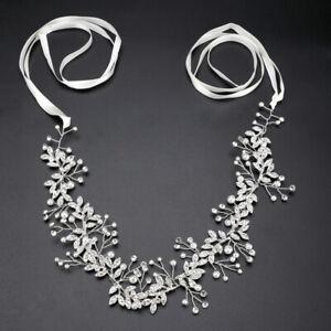 New 38cm Pearl Wedding Hair Vine Crystal Bridal Accessories Diamante Headbands