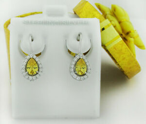 YELLOW TOPAZ & WHITE DANGLING EARRINGS .925 Sterling Silver * NEW WITH TAG *