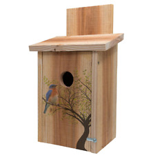 "Cedar Blue Bird House 14"" Surface Mount Bird Sitting In Tree Design Lightweight"