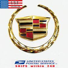 Gold Cadillac Wreath Crest Rear Tailgate Truck 3D Logo Emblem Badge Sticker 6 In