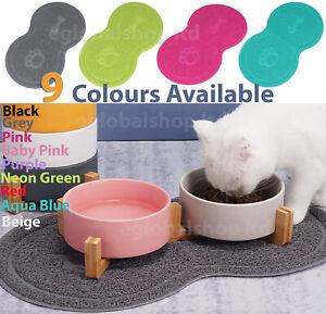 Pet Dog Puppy Cat Feeding Mat Pad Cute PVC Bed Dish Bowl Food Feed Placemat UK