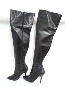 Pleaser Women's Seduce 3010 Sexy Black Faux Leather Thigh High Heels, 9M
