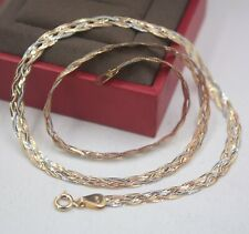 Real 18K Multi-tone Gold Chain Necklace Women's Lucky Four Weaving Link 17.7''L