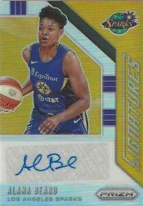 2020 WNBA PANINI * ALANA BEARD SILVER PRIZM * SIGNATURES AUTOGRAPHED CARD SPARKS