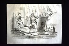 Incisione d'allegoria e satira Daniele Manin, Venezia, Austria Don Pirlone 1851