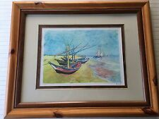 Fishing Boats On The Beach, 1888 by Van Gogh Lithograph Print, Numbered, Framed
