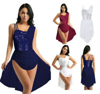 Women Sequins Ballet Leotard Maxi Dress Dancewear Gymnastics Unitard Tutu Skirt
