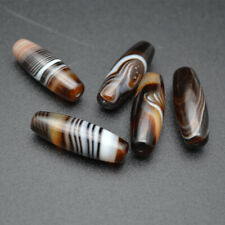 5pc 10x30mm High quality Banded Dark Coffee Brown Agate DZI Stone Loose Beads