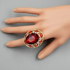 18K Gold Plated GP Red Crystal Rhinestone Wedding Adjustable Ring 00052 Oval