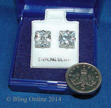 MENS 925 SILVER 8mm SQUARE BLING EAR STUDS EARRINGS DIAMOND CUT DIAMANTE CRYSTAL