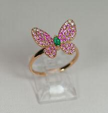 18k ROSE GOLD DIAMOND GREEN EMERALD RUBY PINK SAPPHIRE STATEMENT BUTTERFLY RING
