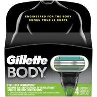 Gillette Body Men's Razor Blade Refills NEW, 4 Cartridges