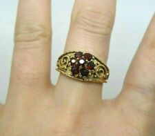 9ct Yellow Gold Hallmarked 1974 Garnet Cluster Floral Traditional Ring Size N