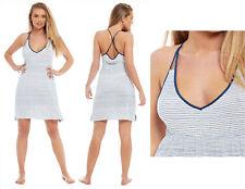 Ladies Viscose Chemise Summer Nightie Nightdress White NavyBlue Striped Elastane
