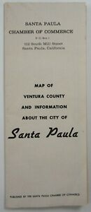 Vintage Santa Paula Ventura County CA Map History Union Oil Lemon Capitol 1961