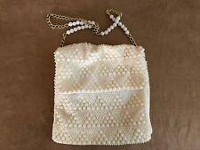 Handmade vintage purse bag plastic bead beaded BOHO white evening shoulder