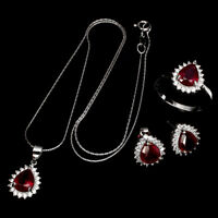 Pear Ruby 9x7mm Cz White Gold Plate 925 Sterling Silver Ring Earrings Necklace
