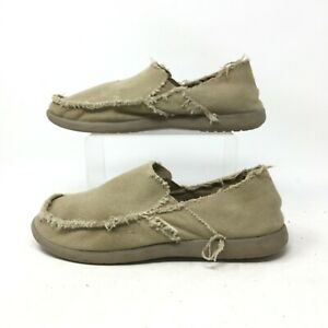 Crocs Kaleb Moccasin Canvas Loafers Slip On Round Toe Casual Shoes Tan Mens 8