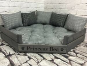 Personalised Corner Wooden Dog Bed - No Cushions - Small