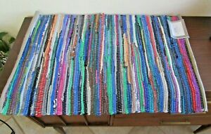 """Chindi Rag Rug 100% Cotton Woven Floor Mat Accent, India - 19.5"""" x 31.5"""" - NEW"""