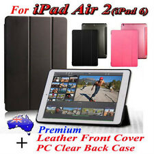 Premium Leather Stand Flod Cover+Clear Back Case(2IN1)For iPad Air 2(iPad 6) S/W