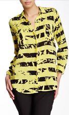Splendid Women's Abstract Stripe Shirt Longsleeve Yellow Black XS $138 LD928