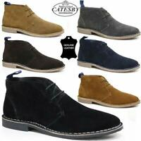 Mens Real Leather Casual Retro Walking Chukka Lace Desert Ankle Boots Shoes Size