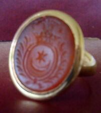 RARE/ OLD 18K, 11.2G GOLD, TURKEY INTAGLIO SEAL CARVED CARNELIAN RING SIZE 11.5