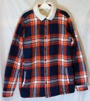 Boys M&S Orange Blue Check Furry Fleece Lined Shacket Jacket Age 11-12 Years