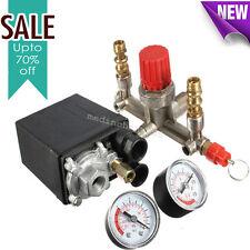 New Air Compressor Pressure Valve Switch Manifold Relief Regulator Gauges 125Psi