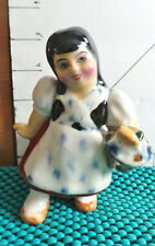 "Asian Figurine, 5"" Japanese Girl w/Basket, Planter/Toothpick Holder, Collectible"