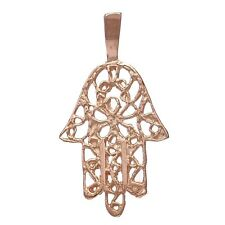 14K Solid Pink/Rose Gold Hand of Fatima Hamsa Charm Pendant 0.8 gram