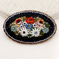 Beautiful Vintage 1940s Italian Flower Bouquet Micro Mosaic Brooch Gift Boxed