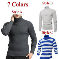 Winter Men's Pullover Cotton High Neck Sweater Tops Turtleneck Knitwear